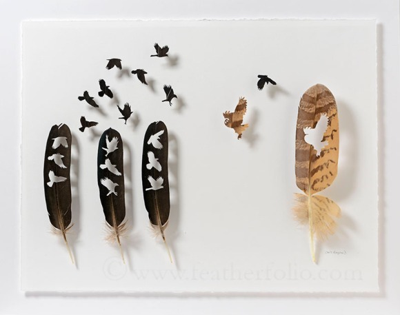 "Chris Maynard, ""Owl for One and One for Owl 2,"" Impeyan pheasant wing feathers, Eurasian eagle owl secondary flight feather, 19"" x 24"", 2016"